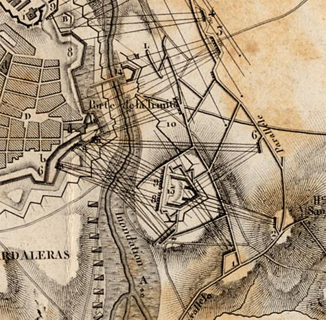 Plan de Badajoz et des attaques faites par les anglais en 1812