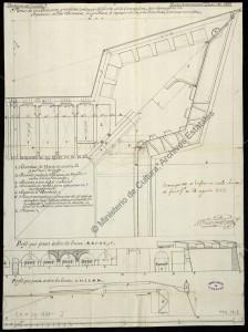 Plano y perfiles de un baluarte y medias cortinas del Fuerte de la Concepción . AGS MPD, 31,008