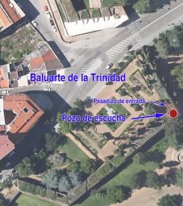 Situación del pozo de escucha del baluarte de la Trinidad en Badajoz