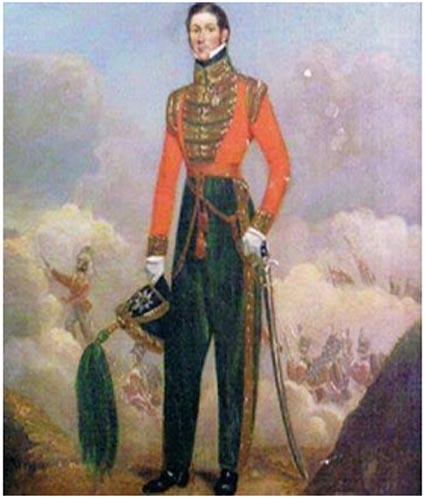 Óleo de Joseph Dyas, pintado por John Flamanck que se encuentra en el comedor de oficiales del 3º batallón de Rifles, en Edimburgo