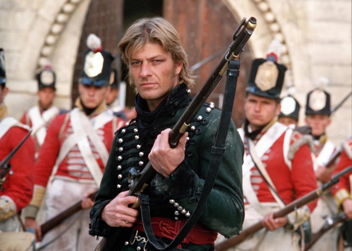 Sean Bean, caracterizado como Richard Sharpe en el asalto a Badajoz en 1812.