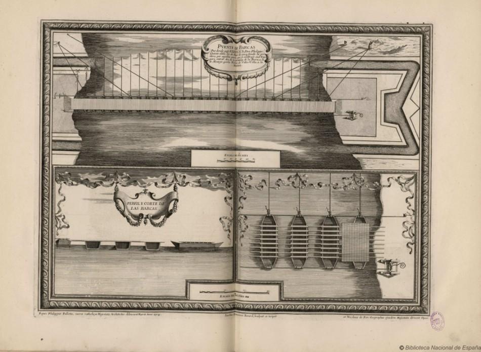 Puente de barcas por donde pasó el Rey don Phelipe Quinto el día 30 de mayo de 1704.