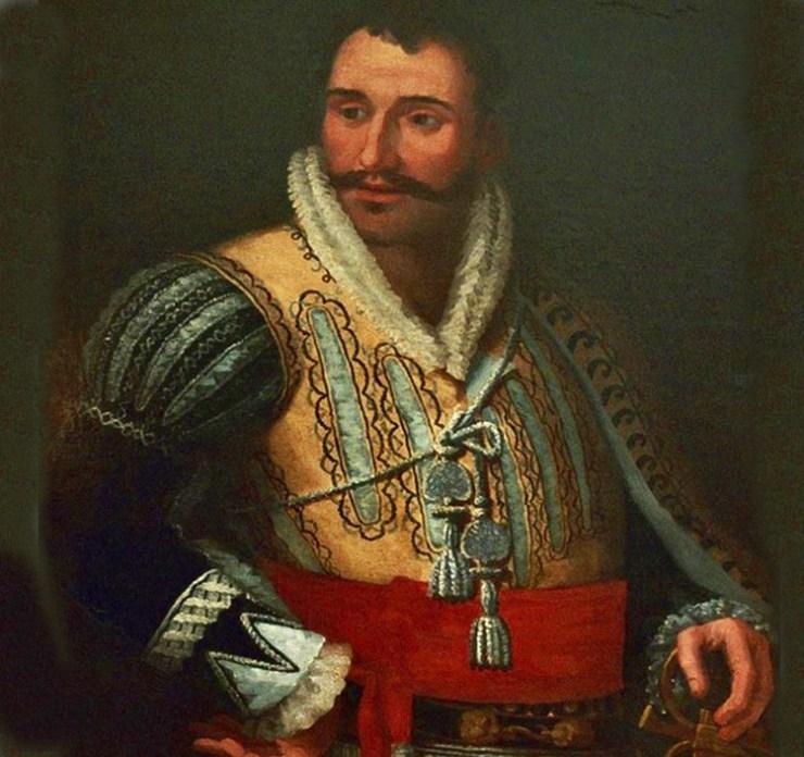 Retrato de Juan Downie con la espada de Pizarro, donde se puede apreciar la guarnición de gavilanes curvos en dirección opuesta, pomo damasquinado de oro y puño cubierto de hilo de plata
