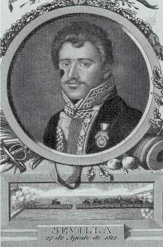 John Downie condecorado con la Laureada de San Fernando en una litografía contemporánea en la que se recuerda su acción sobre el Puente de Triana.