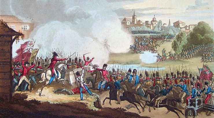 """Battle of Seville"" Litografía de William Heath (1815)"