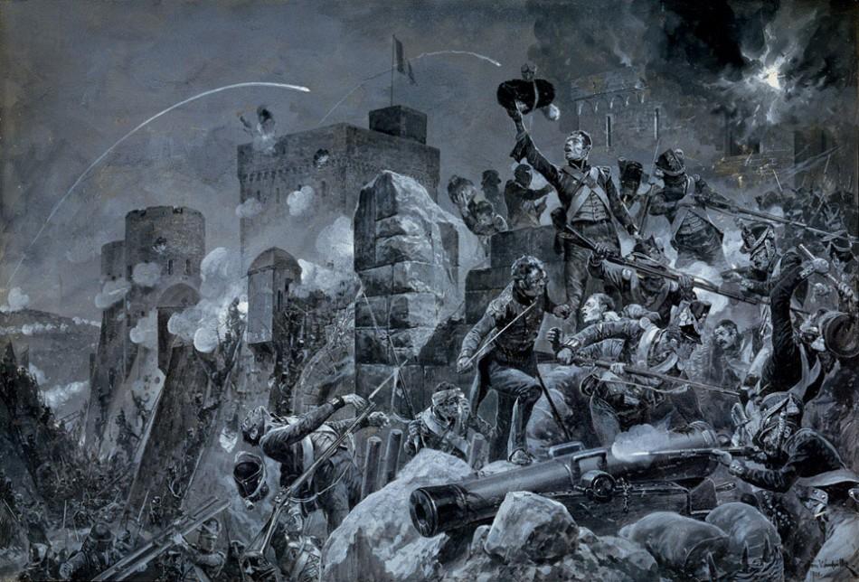 The Devil's Own. Los irlandeses del 88º regimiento británico sobre los muros de Badajoz, según el grabado realizado por Richard Caton Woodville en 1908.