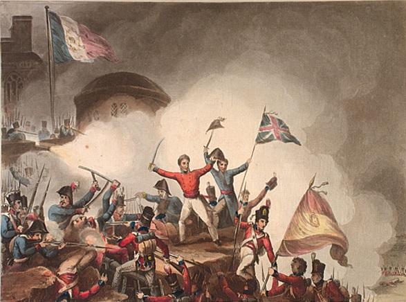 Grabado realizado por Thomas Shutherland en 1815, cuyo protagonista es Thomas Picton sobre los muros del castillo de Badajoz