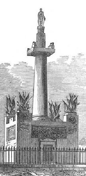 El faraónico monumento dedicado a Thomas Picton en Carmarthen en 1828.