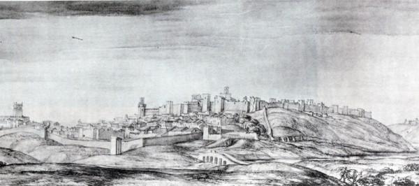 Fragmento de la vista de Badajoz dibujada por Pier Maria Baldi en 1668, año mediceo.