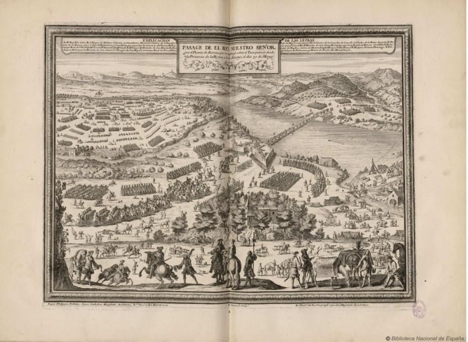 Pasaje del rey nuestro señor por puente de barcas que se construyó sobre el Tajo para ir desde la provincia de la Beyra a la de Alentejo el día 30 de mayo de 1704.